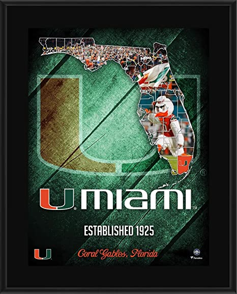 Image Unavailable. Image not available for. Color  Miami Hurricanes  10.5 quot  x 13 quot  2018 Sublimated State Plaque ... 2896c5a0f