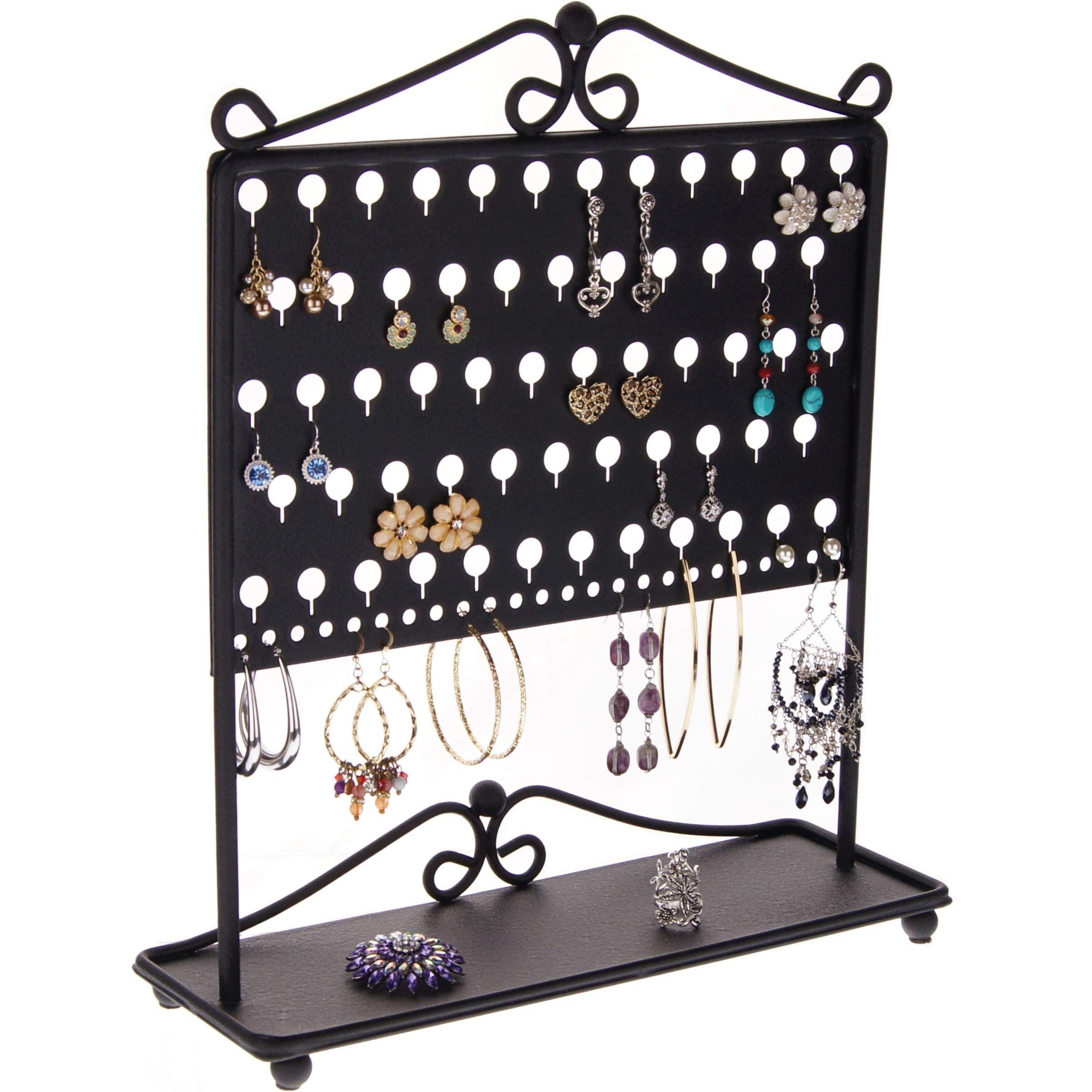 Angelynn's Stud Earring Holder Organizer Tree Stand Display Hanging Jewelry Storage Rack, Ginger Black