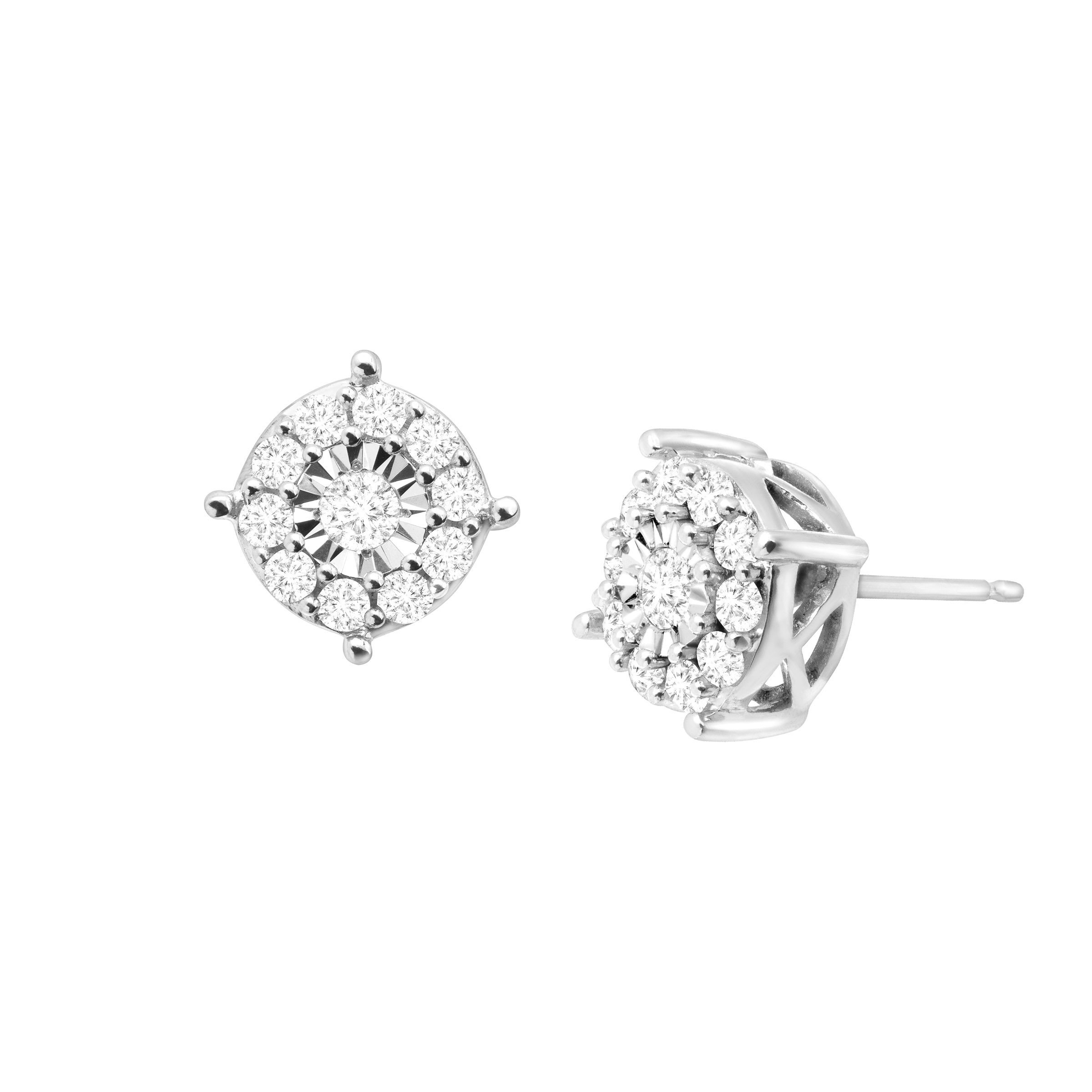 3/4 ct Diamond Halo Stud Earrings in Sterling Silver