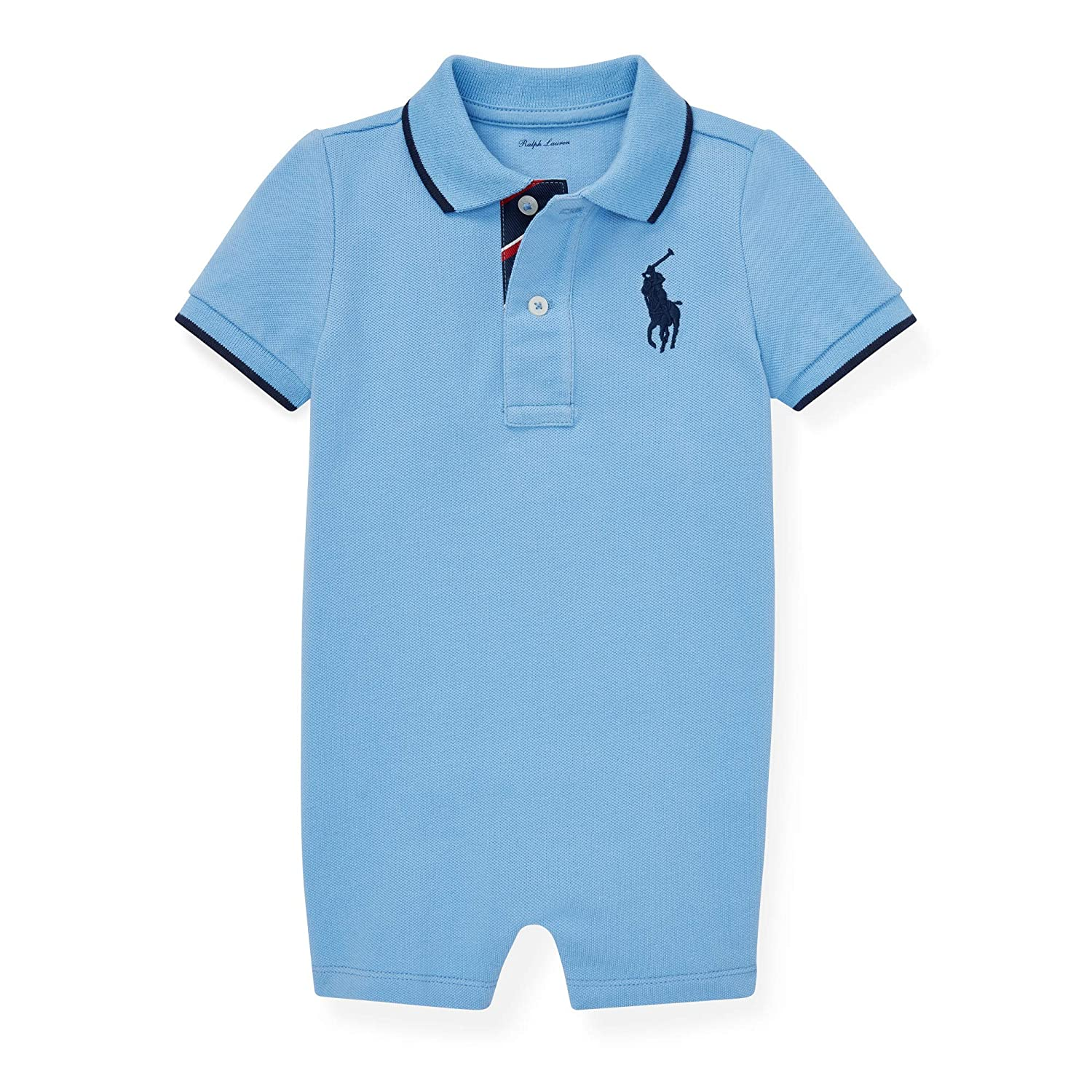 Ralph Lauren Baby Boys Shortalls Bodysuit Big Pony Mesh Pique Cotton Playwear Onesie