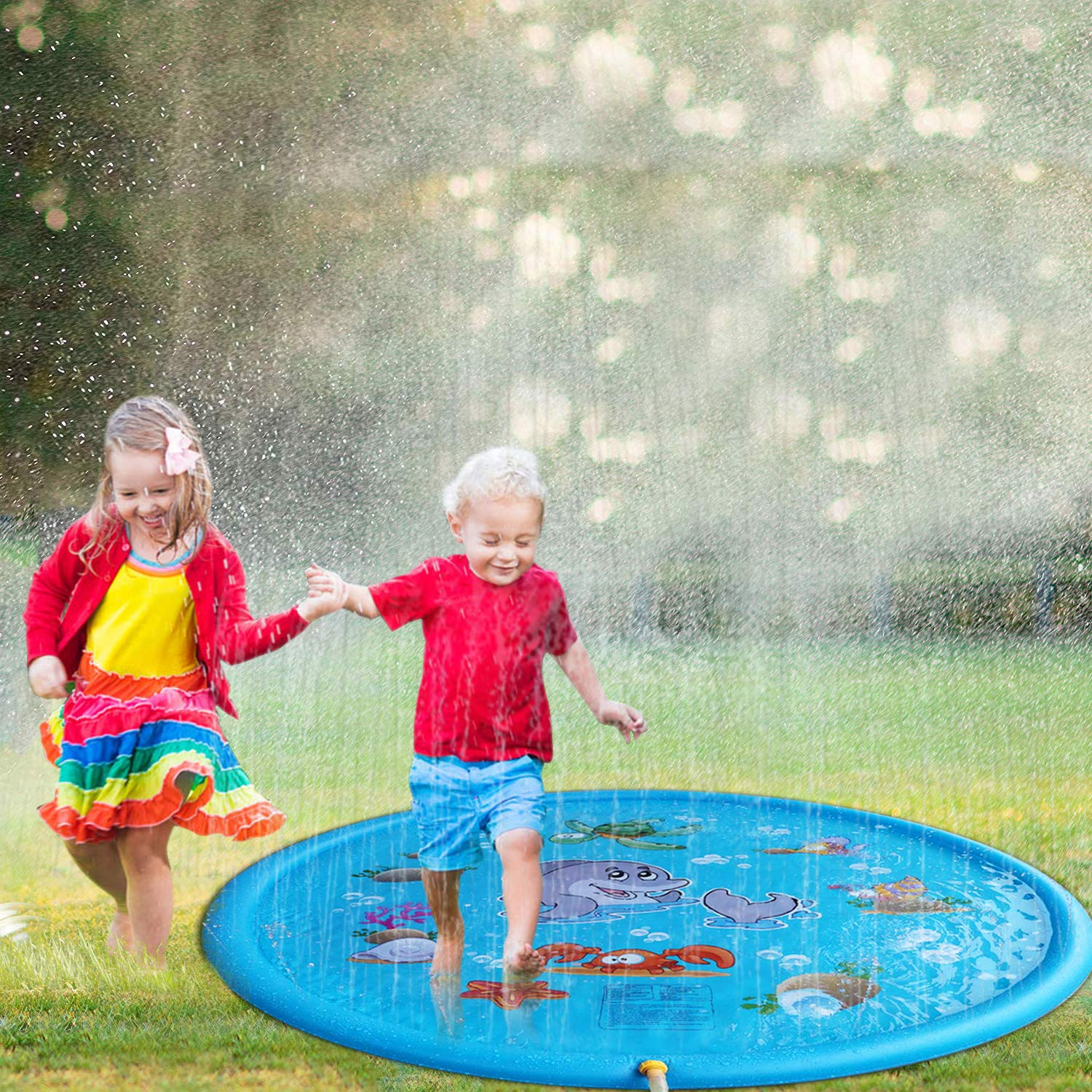 Tobeape Upgraded 68 inches Sprinkle and Splash Play Mat