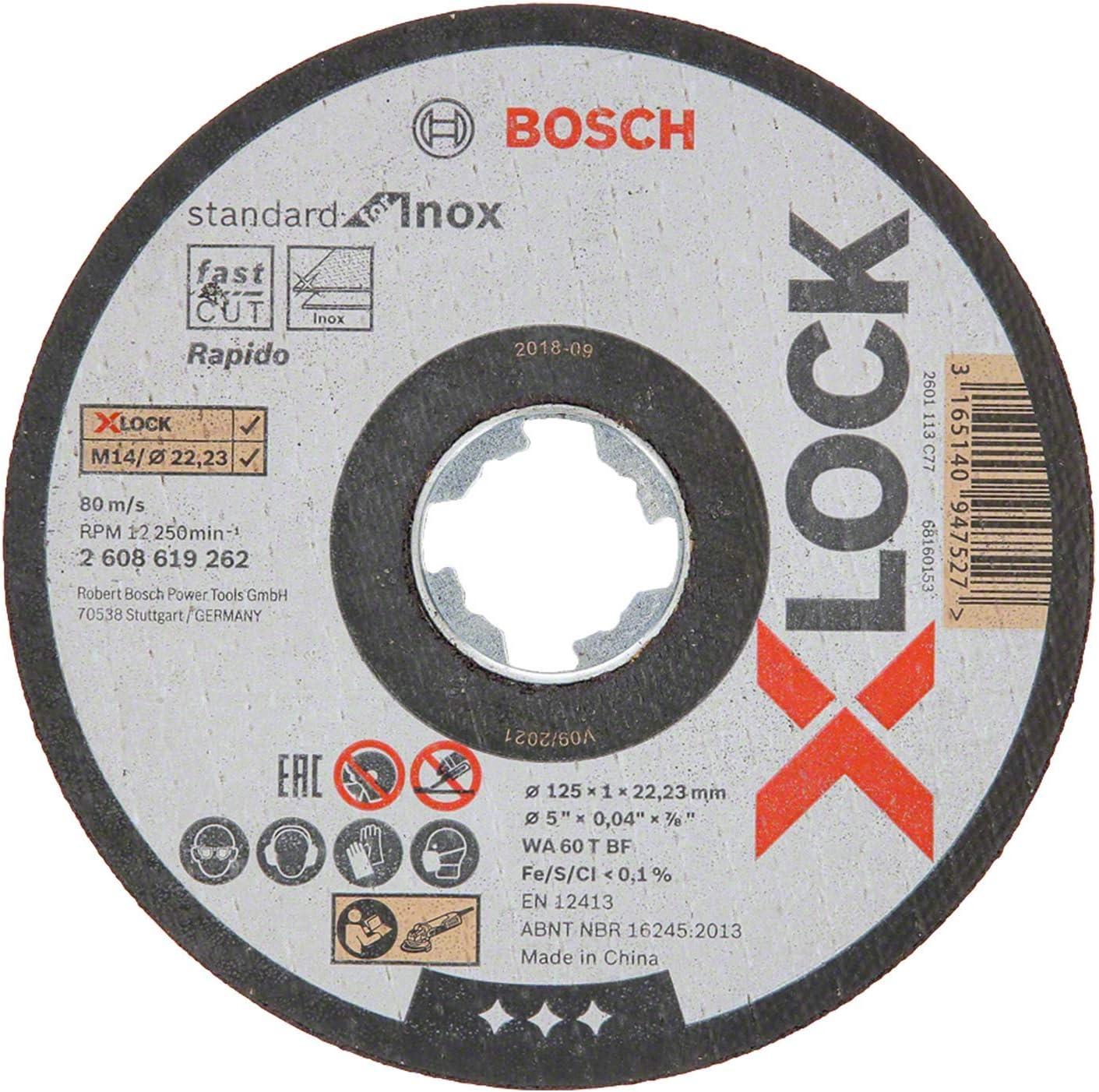 Bosch Professional Standard - Disco de corte recto (para inoxidable, X-LOCK, Ø125 mm, diámetro del orificio: 22,23 mm, grosor:1 mm)