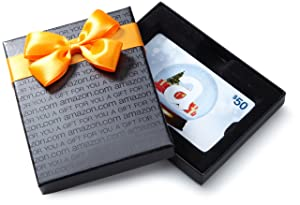 Amazon.com Gift Card in a Black Gift Box (Holiday Globe Card Design)