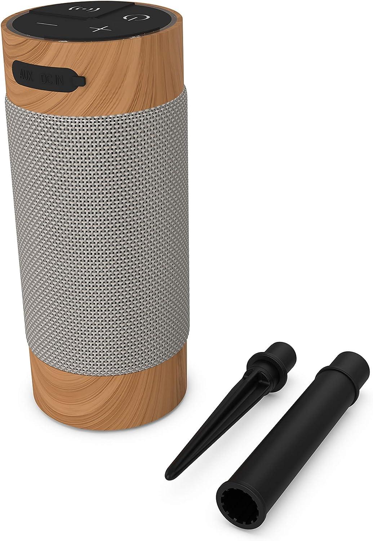 Kitsound Diggit Xl Ksdigxlbr Bluetooth Lautsprecher Gartenlautsprecher Wasserdicht Holz Audio Hifi