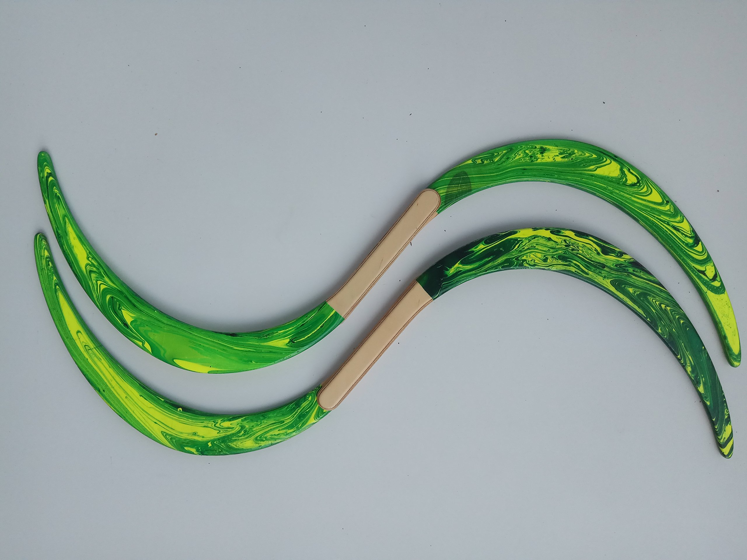 Swirl Buugeng Juggling S Staff S Staves Bugeng Hand Made 2 Pieces Yellow and Green Glows in UV Carry Bag by Buugeng Flow Master J.A.H (Image #5)