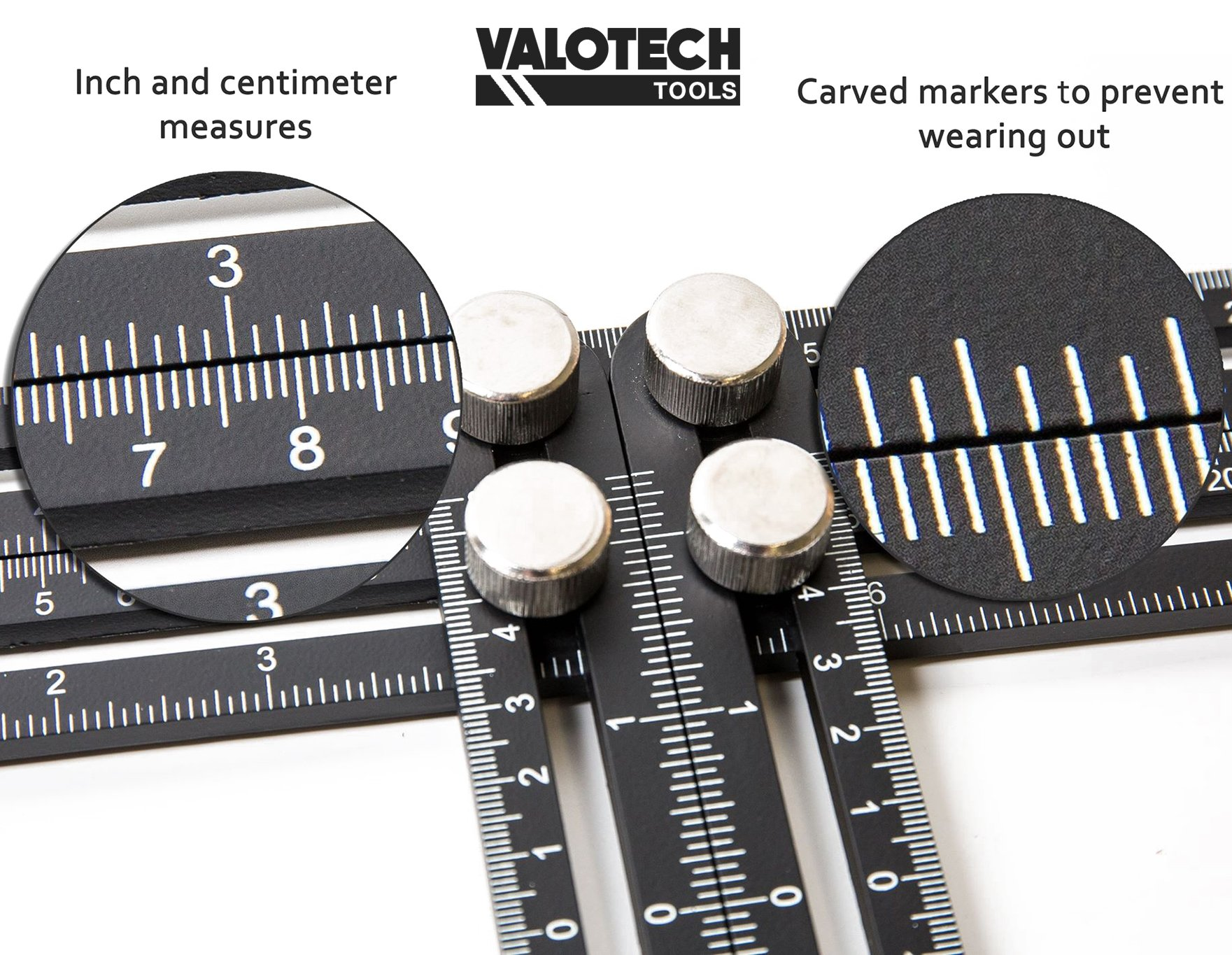 Full Metal angleizer Multi-Angle Measuring Ruler: Ultimate Template Tool for Measuring Angles – Precise Upgraded Aluminum Template Tool - for DIY, Roofers, Carpenters, Handymen -Includes Carry Pouch by Valotech (Image #2)
