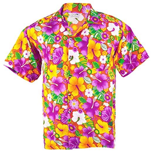 7121fcbb UP-ONE Men's Hawaiian Aloha Shirt Vivid Multi-Color Hibiscus Chaba Beach  XX-Large Orange at Amazon Men's Clothing store: