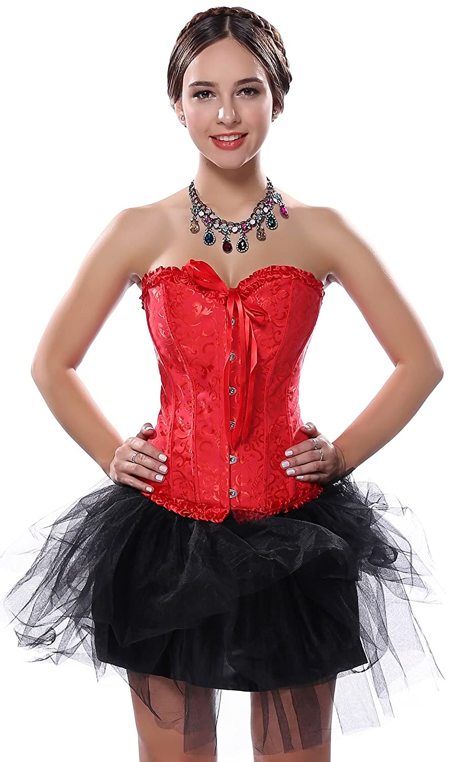 Stay Sexy Brocade Basque Red Corset with Petticoat TuTu Skirt Costumes Set