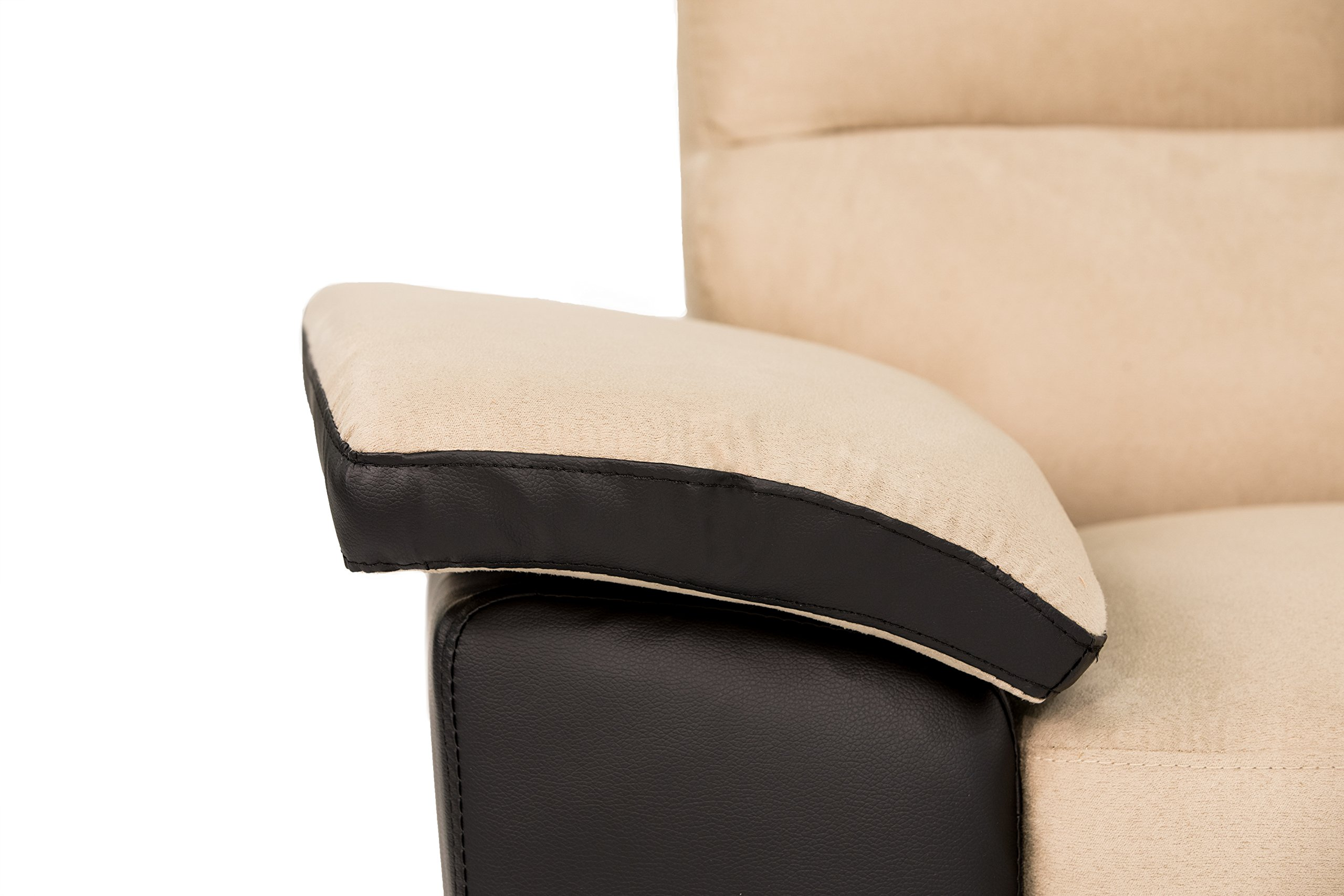 Divano Roma Classic Soft Microfiber and Bonded Leather Living Room Furniture by Madison Home (Image #3)