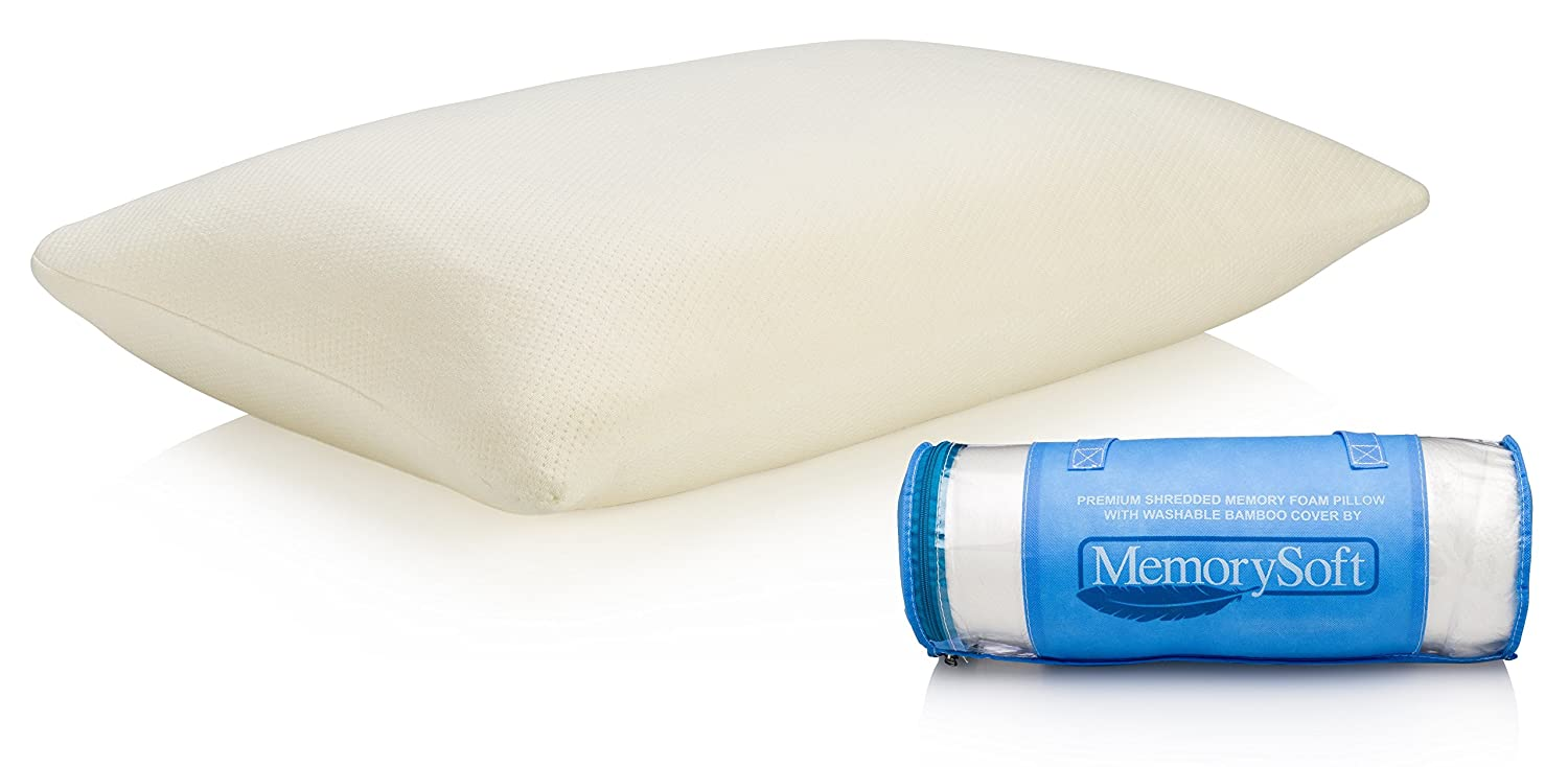 Ultra-Luxury Shredded Memory Foam Pillow By MemorySoft- Washable, Hypoallergenic and Cool Bamboo Case- Great as a Reading Pillow or Bed Rest Pillow - Standard Size Fits Twin to King