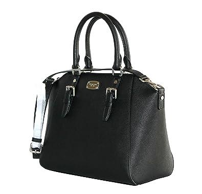 Michael Kors Ciara Large Top Zip Saffiano Leather Satchel (Black ...
