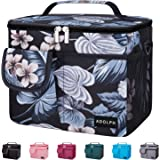 ADOLPH Insulated Leakproof Cooler Lunch Bag for Women Men - Reusable Multi Compartments Lunch Organizer with Adjustable Shoulder Strap Fits Office Work School Picnic Beach-Black Flower