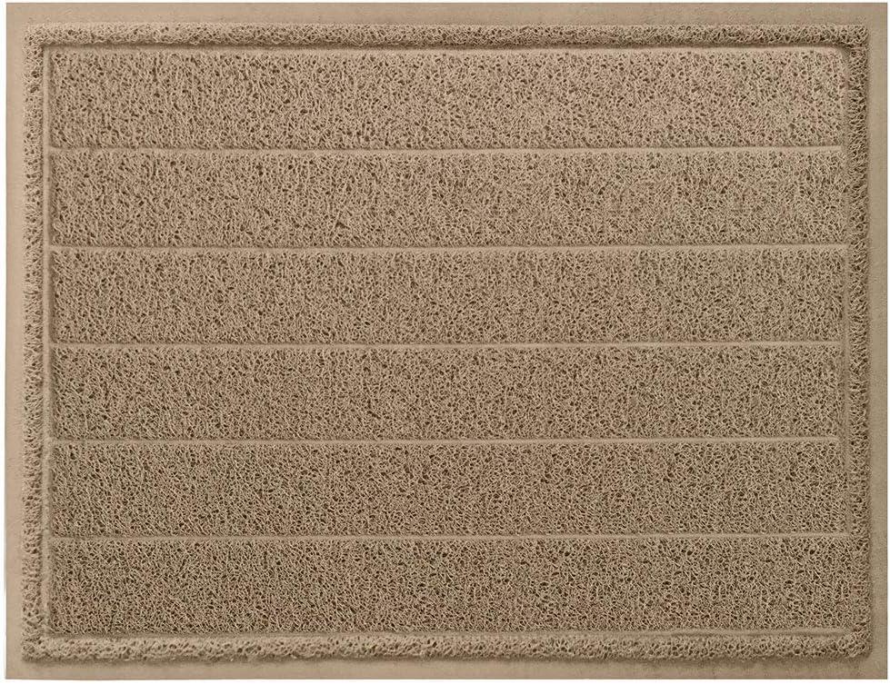 Gorilla Grip Durable Indoor Door Mat, 47x35, Absorbent Quick Dry Boot Scraper, Large Size, Heavy Duty Doormats, Commercial Waterproof Striped Doormat, Easy Clean, Low-Profile Mats for Entry, Taupe