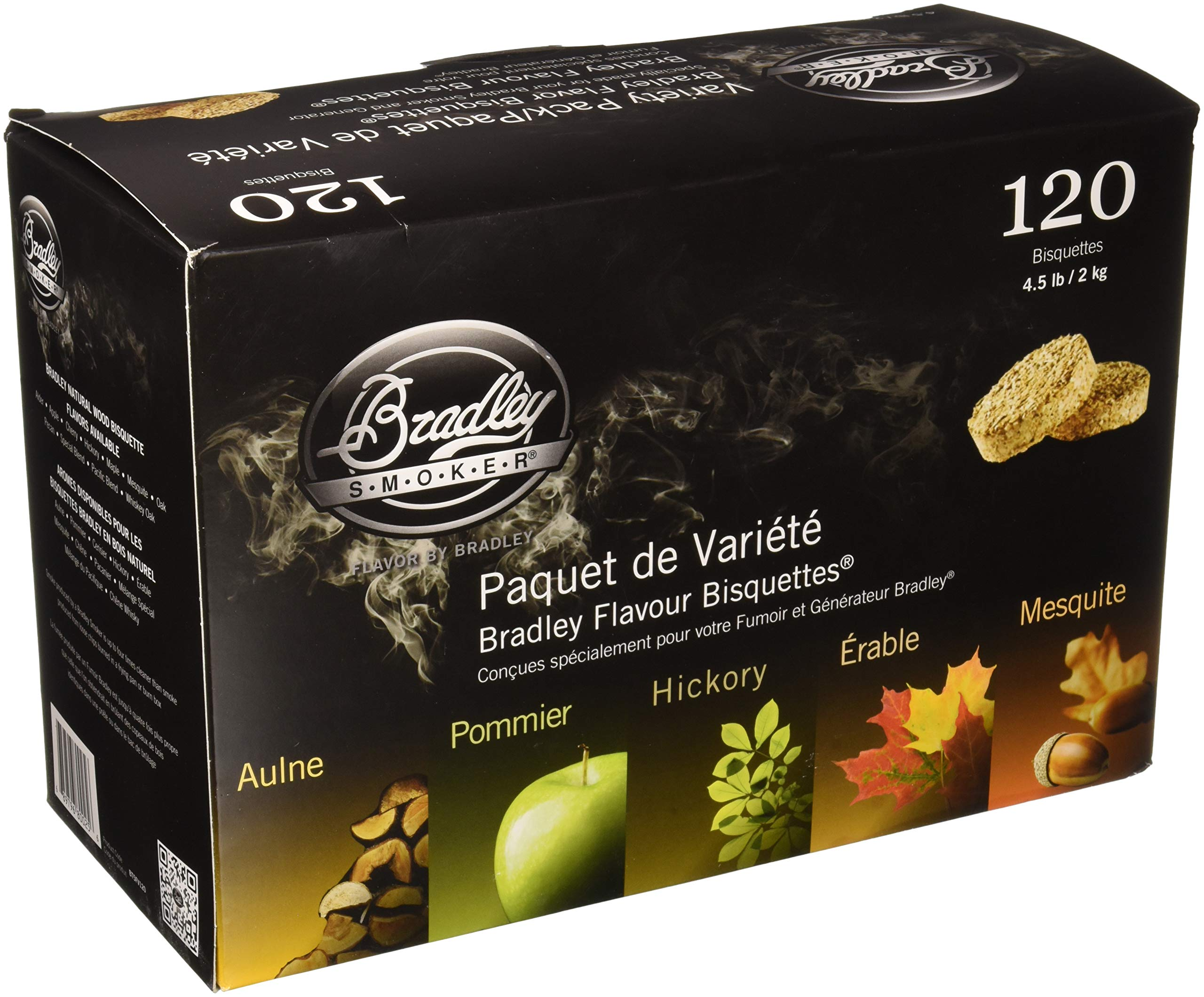 Bradley Technologies Smoker Bisquettes 5 Flavor Variety (120 Pack) by Bradley Smoker