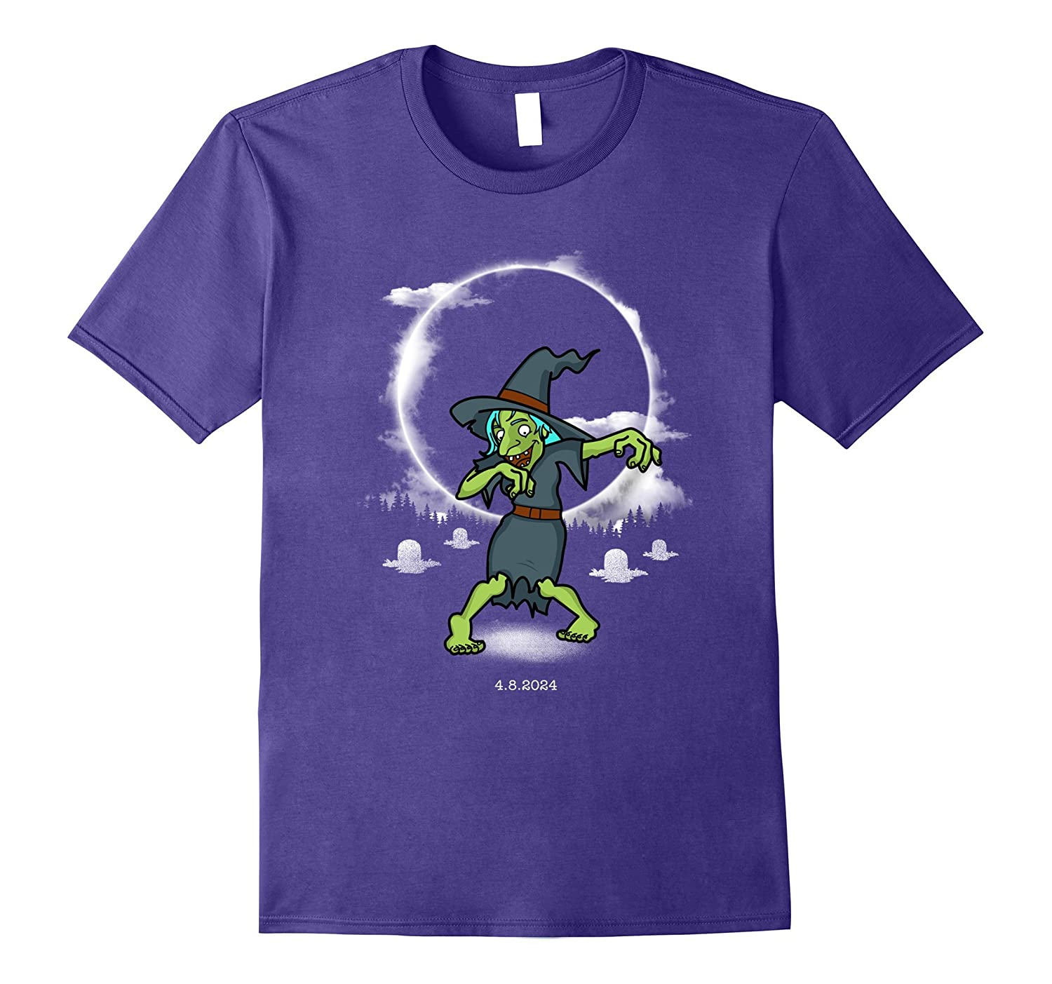 2024 Eclipse Totality T-Shirt with a Funny Dabbing Witch-4LVS