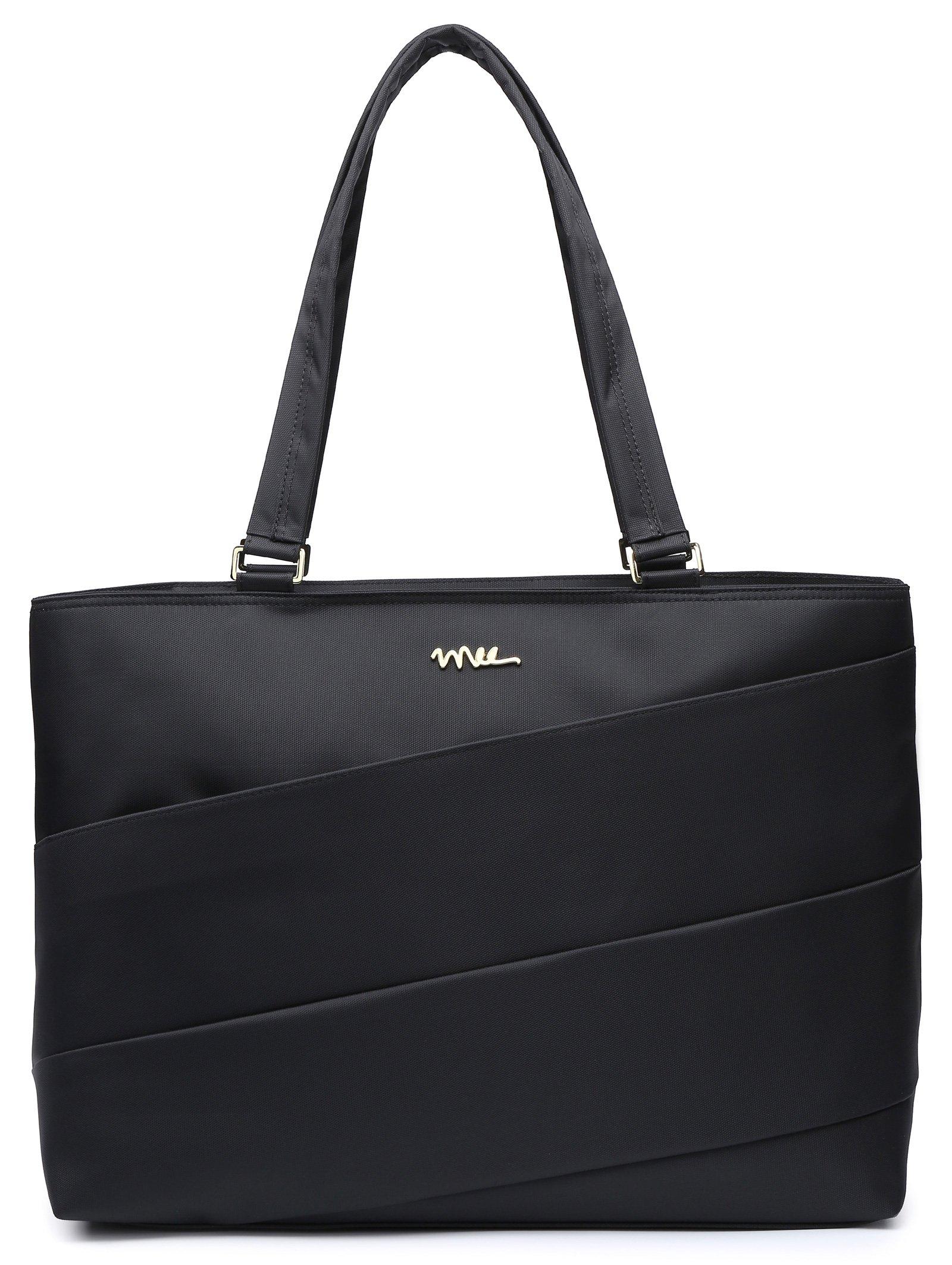 NNEE 15 15.6 Inch Water Resistance Nylon Laptop Tote Bag Notebook Computer Work Handbag Travel Carrying Bag - Black