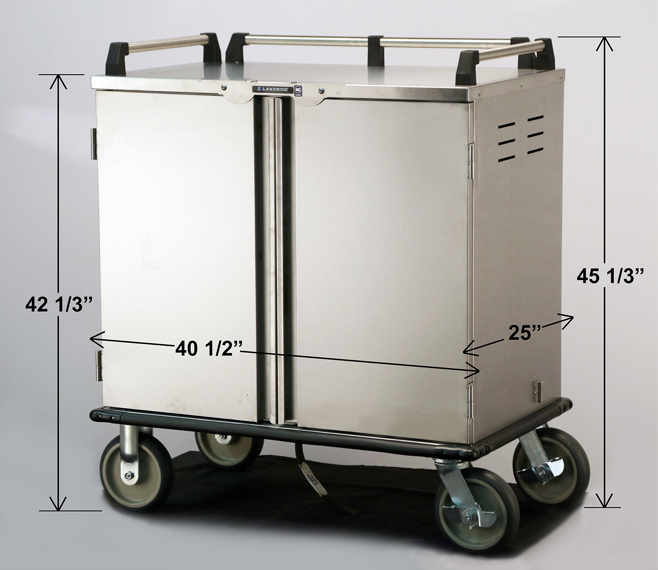 Lakeside 5510, Elite Series, Enclosed Room Service, Tray Delivery Cart; Stainless Steel, 12 Tray Capacity, 32-1/4'' x 36-3/4'' x 48-3/4'' by Lakeside (Image #3)