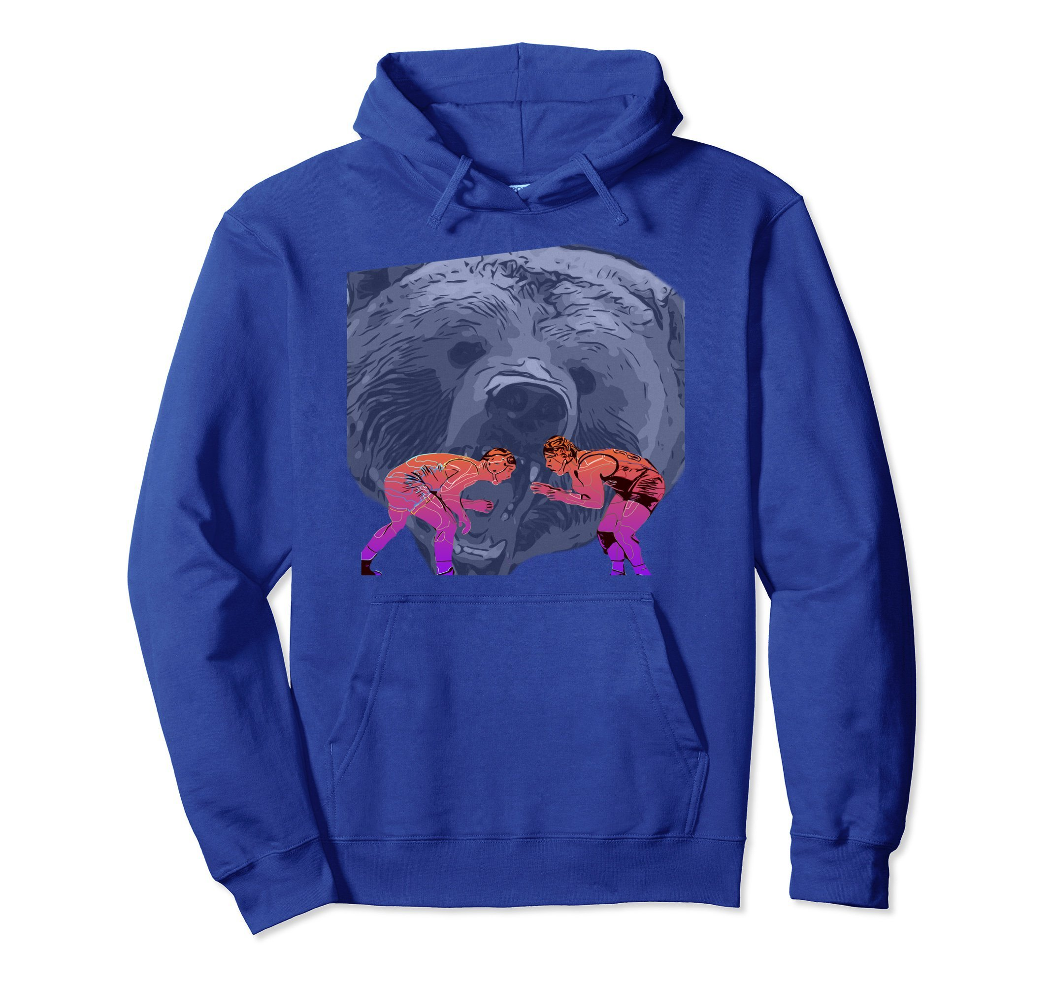 Unisex Wrestling Grizzly Bear Hoodie Large Royal Blue