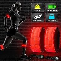 Vivibel opaska LED do biegania, 4 sztuki, odblaskowa taśma odblaskowa LED, do biegania, dla dzieci, do biegania, jazdy…