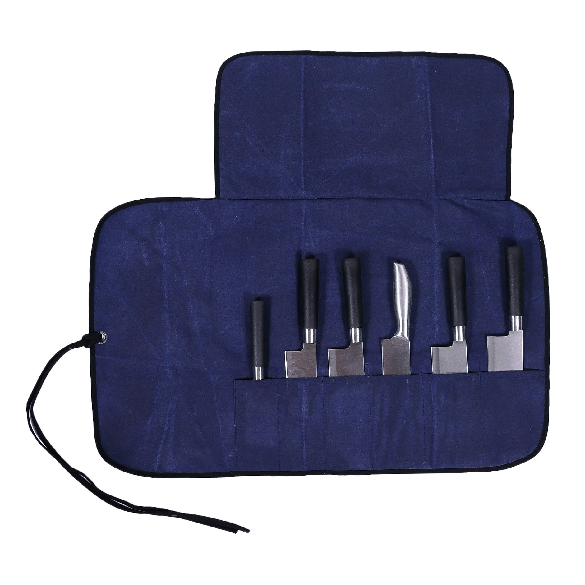 Handmade Waterproof Waxed Canvas Chef's Knife Roll Utensil Holder Storage Bag 6 Slot Multi Purpose Knife Roll Pouch with Cover Flap & Wrap String Best Gift For Him / Her HGJ03-M-US