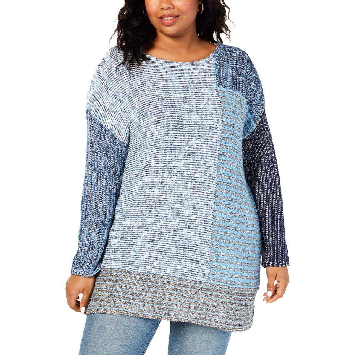 Style /& Co Womens Plus Crewneck Tunic Pullover Sweater