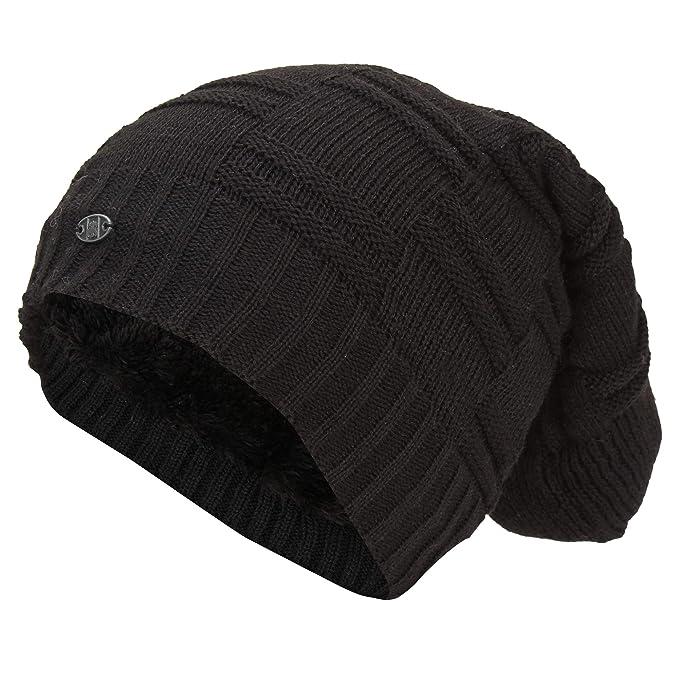 a474bbaa0de869 FRIENDSKART New Men's Winter Fall hat Fashion Knitted Black ski Hats Thick  Warm hat Cap Bonnet Skullies Beanie Soft Knitted Beanies Cotton0124:  Amazon.in: ...