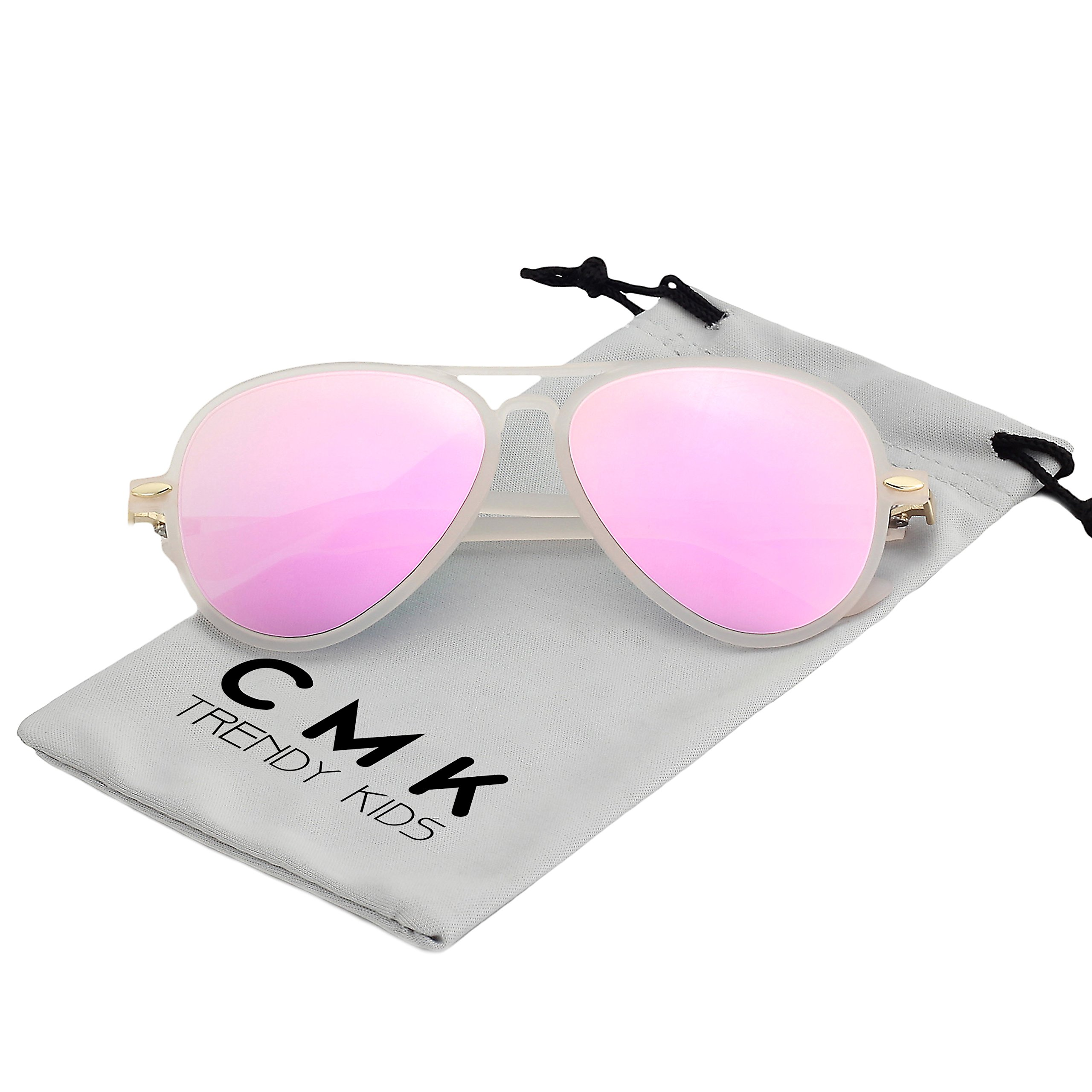 CMK Trendy Kids Flexible Kids Polarized Aviator Sunglasses for Boys and Girls Childrens Eyeglass (CMK180202_PK)
