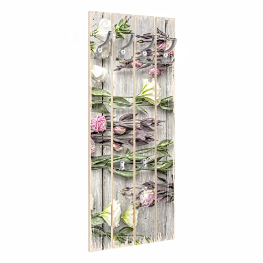 Bilderwelten Perchero de Madera - Shabby Roses On Wood ...