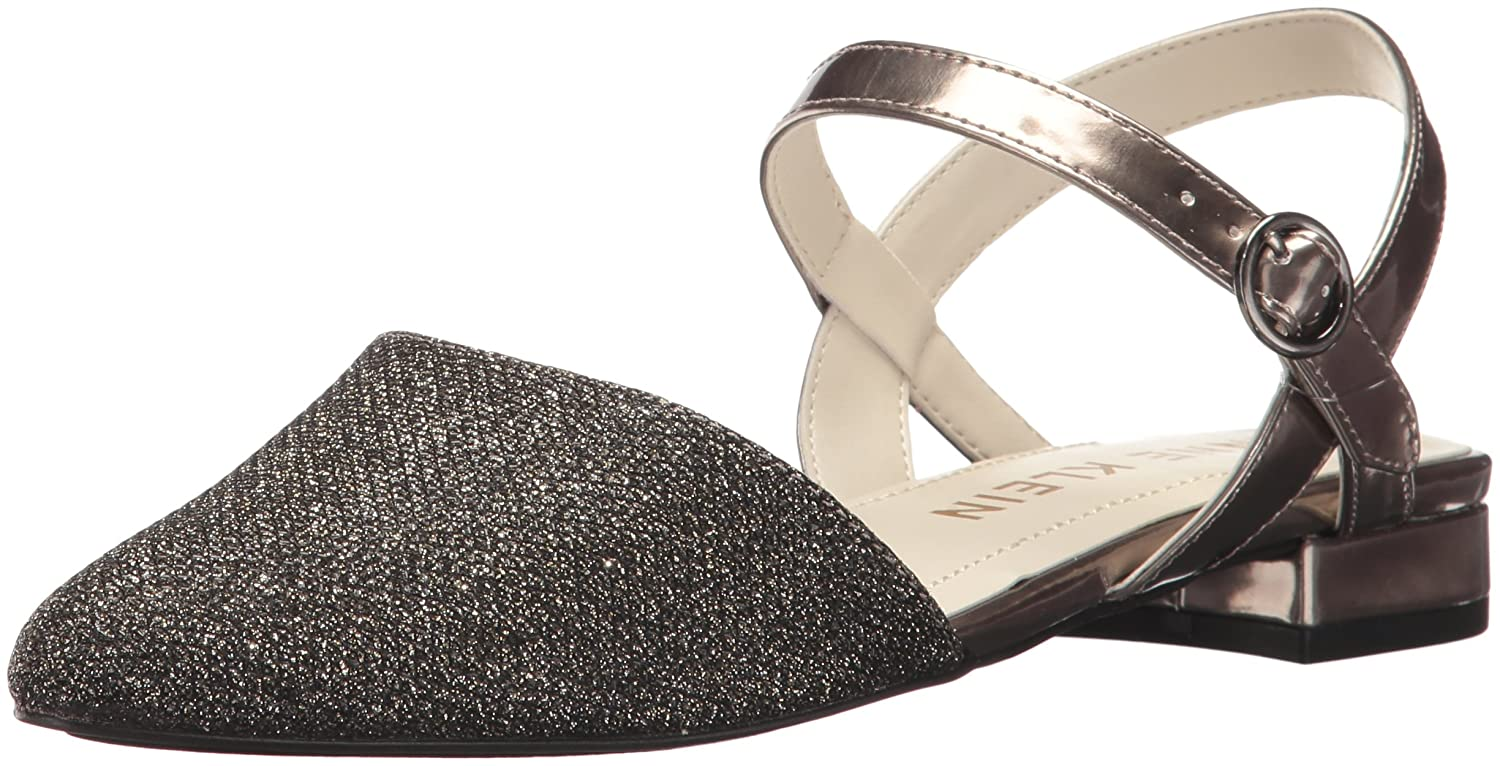 Anne Klein Women's Odell Fabric Ballet Flat B0722QFH57 11 B(M) US|Black-dark Grey