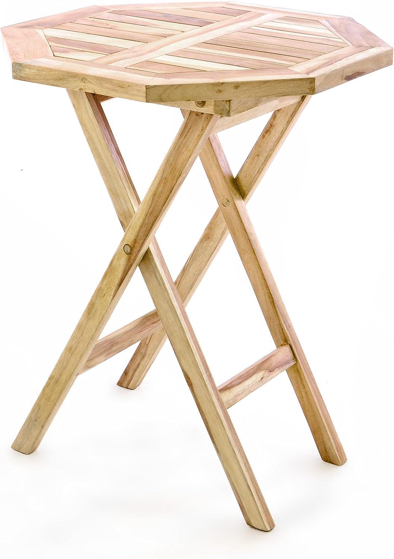 Divero Balkontisch Gartentisch Beistelltisch Teak Holz Tisch für Terrasse  Balkon Garten – wetterfest massiv klappbar – Ø 32 cm Natur-braun