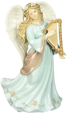 Cosmos 80108 Fine Porcelain Angel with Harp Musical Figurine, 7-7 8-Inch