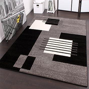 Designer Teppich Karo Stil In Grau Schwarz Weiss Top Qualitat Zum