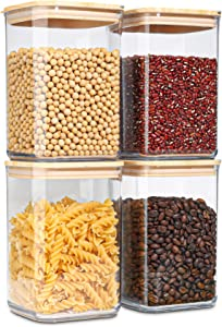 ComSaf Airtight Food Storage Container Set of 4 (50 OZ), BPA-Free Large Plastic Food Storage Canister, Kitchen Pantry Organization and Storage Jar for Spaghetti, Coffee, Tea, Sugar, Flour, Cereal