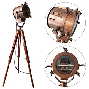 Antique Copper Mid Century Searchlight Focus Tripod Floor Lamp Standing Wooden Stand Spotlight Studio Vintage Home Decor