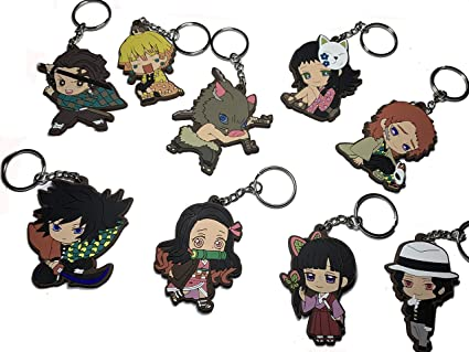 Clothes Decoration Quero Jom91 Anime Demon Slayer Kimetsu no Yaiba Acrylic Keychain Keyring for Backpack 1 pcs