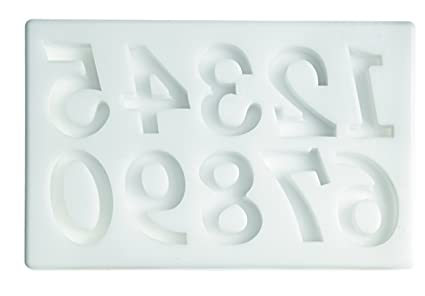 silikomart 71.426.00.0096 - Molde para Fondant SLK 326 Números Grandes Silicona Blanco