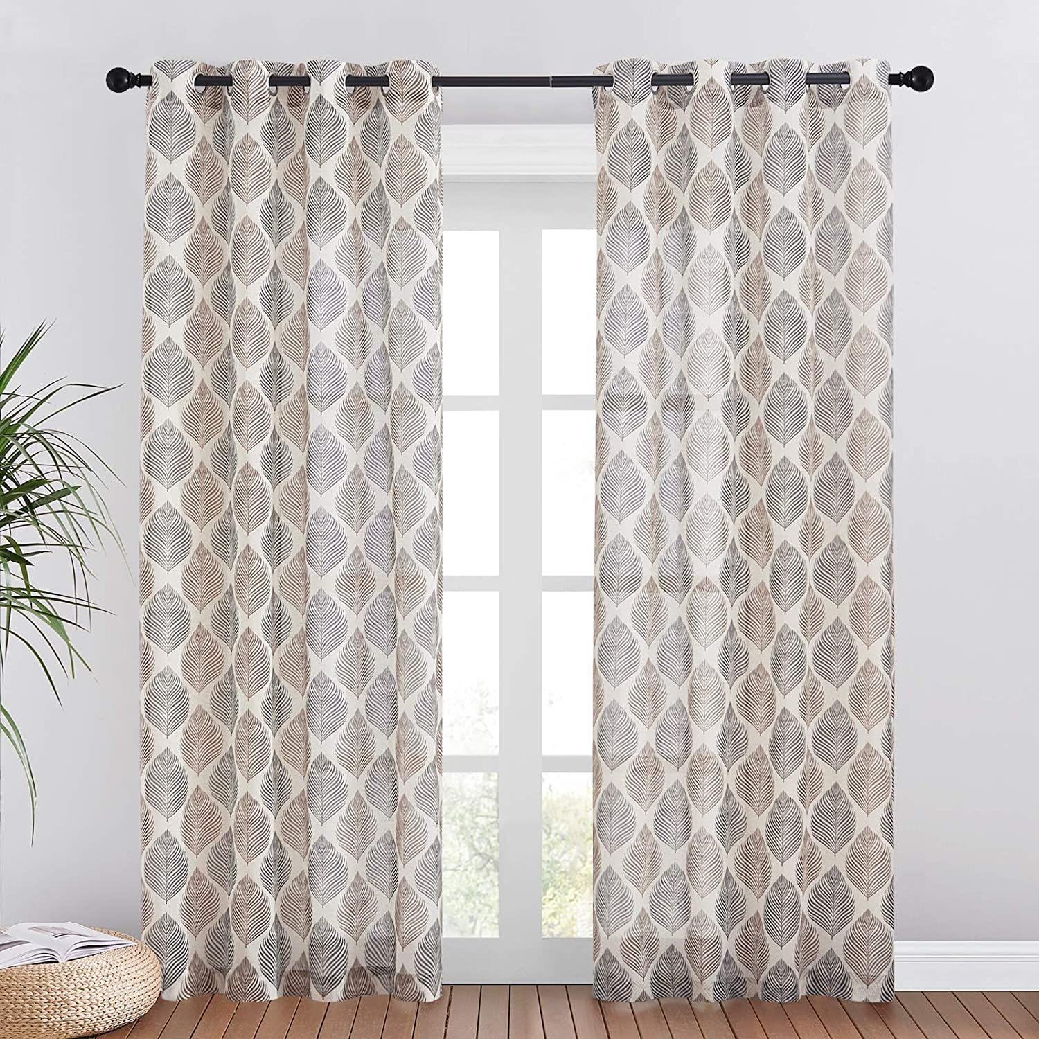 RYB HOME Linen Sheer Curtains - Privacy Semi Sheer Flax Blend Curtains Light Glare Filtering for Home Office Parlor Bedroom Window, 1 Pair, 50 inch Wide x 84 inch Long, Taupe & Black