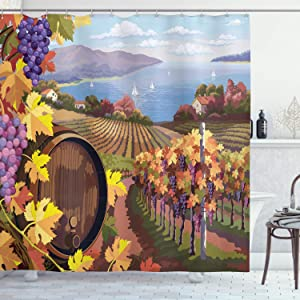 Ambesonne Winery Shower Curtain, Countryside Landscape Vineyard Agriculture Winemaking Season Grapes in Farm Print, Cloth Fabric Bathroom Decor Set with Hooks, 70