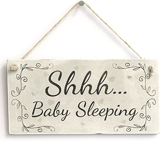Amazon.com: Shhh... de dormir para bebé – cartel para puerta ...
