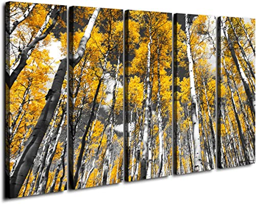 Large Autumn Wall Art Decor Yellow Forest Tree Leaves Canvas Print Black White Nature Painting Landscape Modern Framed Artwork Living Room Office Home Decoration Set 12 x 30 Inch 5 Panel 60″ Total