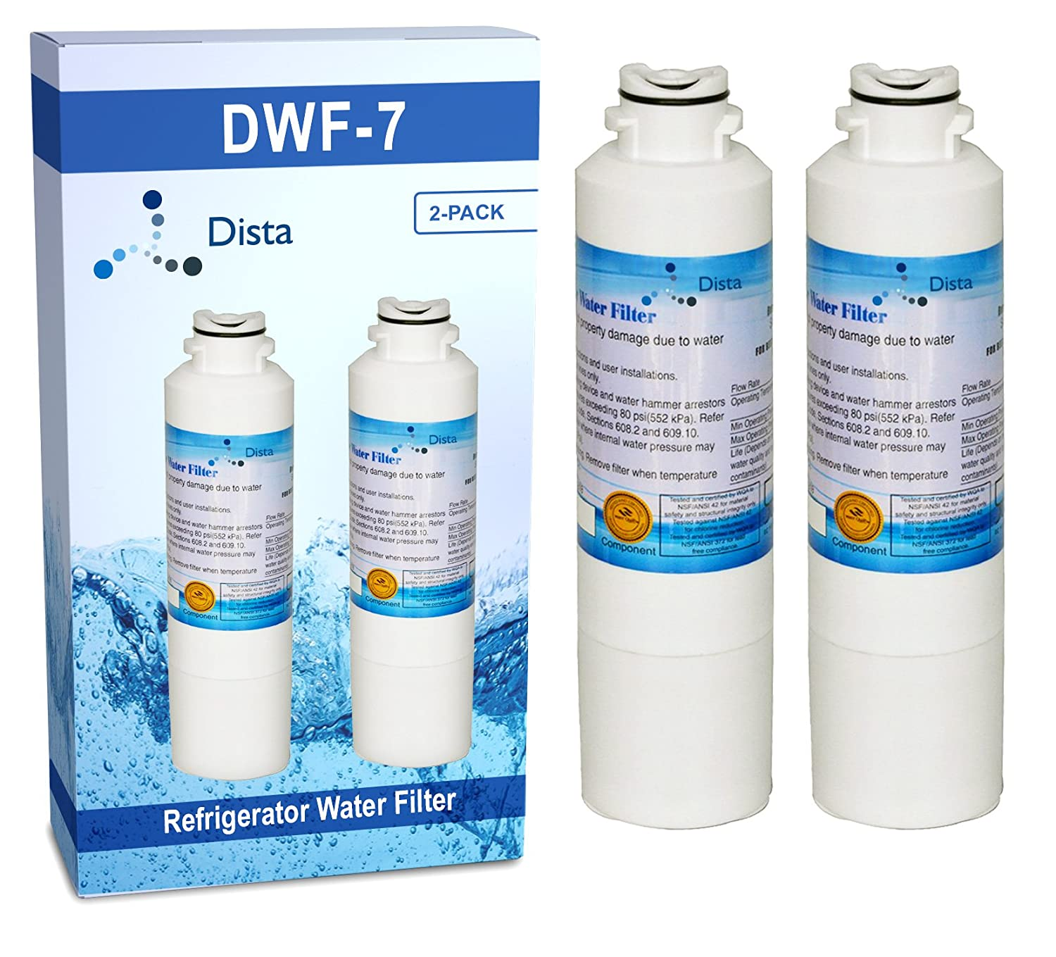 Dista - Refrigerator Water Filter Compatible with Samsung DA29-00020B. Pack of 2