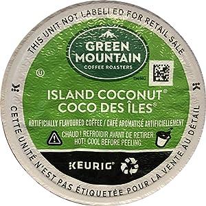 Green Mountain Coffee Roasters Island Coconut, Single-Serve Keurig K-Cup Pod, Flavored Light Roast Coffee, 72 Count
