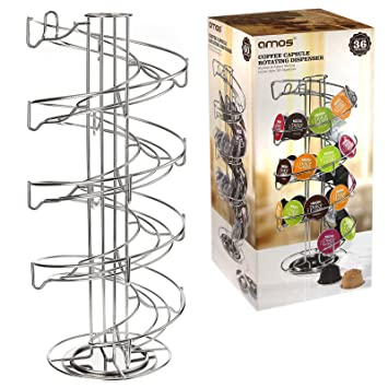 AMOS Revolving Rotating Spiral Coffee Pod Holder Stand Tower Dolce Gusto Nespresso Tassimo Capsule Storage Organiser