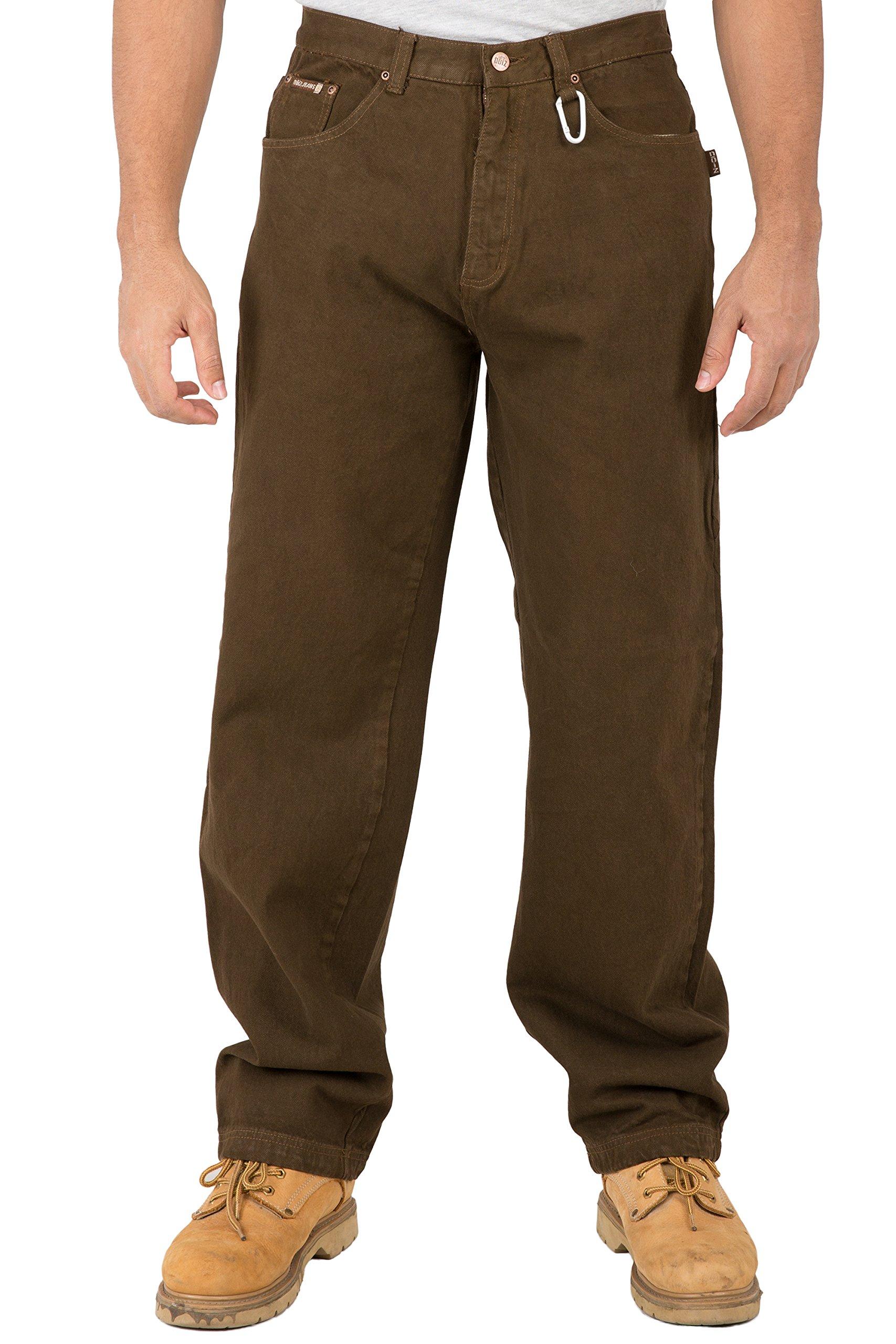 Vibes Mens Relax Straight Leg 5 Pocket Brown Color Denim Jeans Carabiner Clips On Belt Loop Size 44
