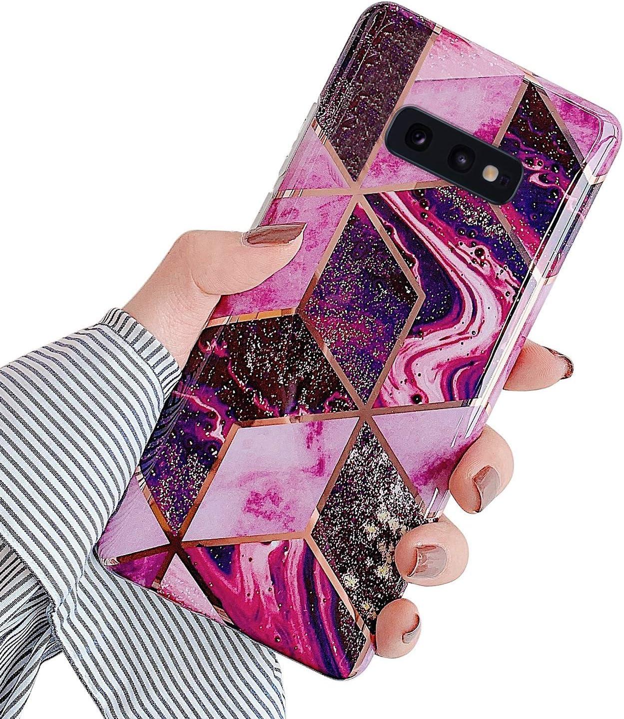 JAWSEU Compatible avec Samsung Galaxy S10e Coque Marbre Motif avec Support de Bague Placage Silicone TPU Souple /Étui Housse de Protection Ultra Mince Anti-Rayures Bumper Case Coque,#5