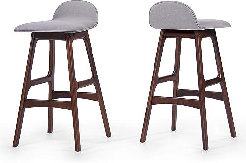 Christopher Knight Home Anatoli Fabric Barstools, 2-Pcs Set, Dark Beige