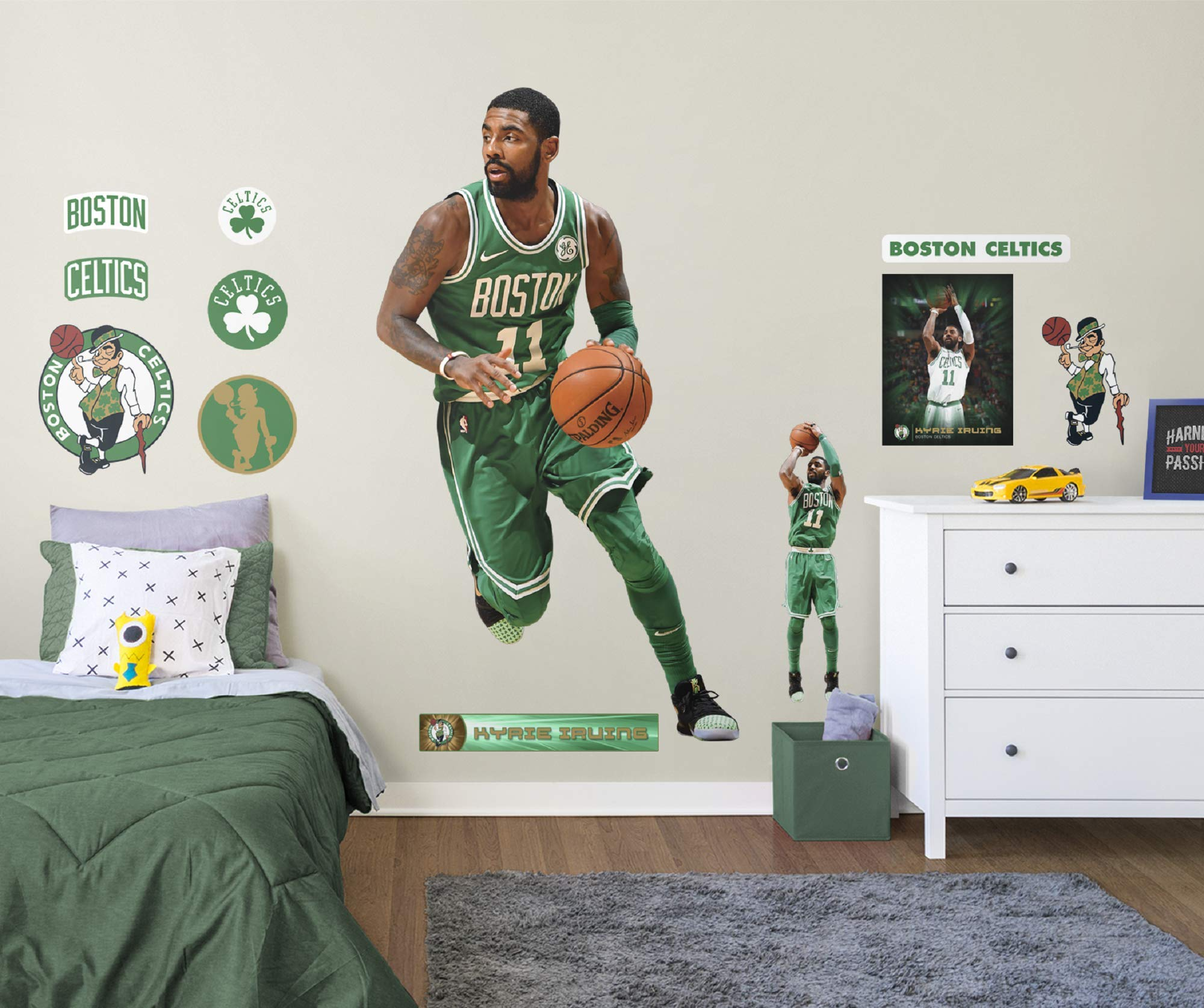 Fathead NBA Boston Celtics Kyrie Irving Kyrie Irving- Officially Licensed Removable Wall Decal, Multicolor, Life-Size by FATHEAD
