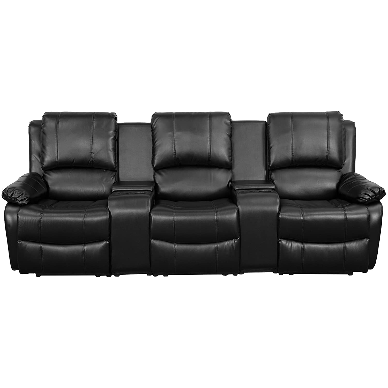 Amazon.com: Flash Furniture Allure Series 3 Seat Reclining Pillow Back  Black Leather Theater Seating Unit With Cup Holders: Kitchen U0026 Dining