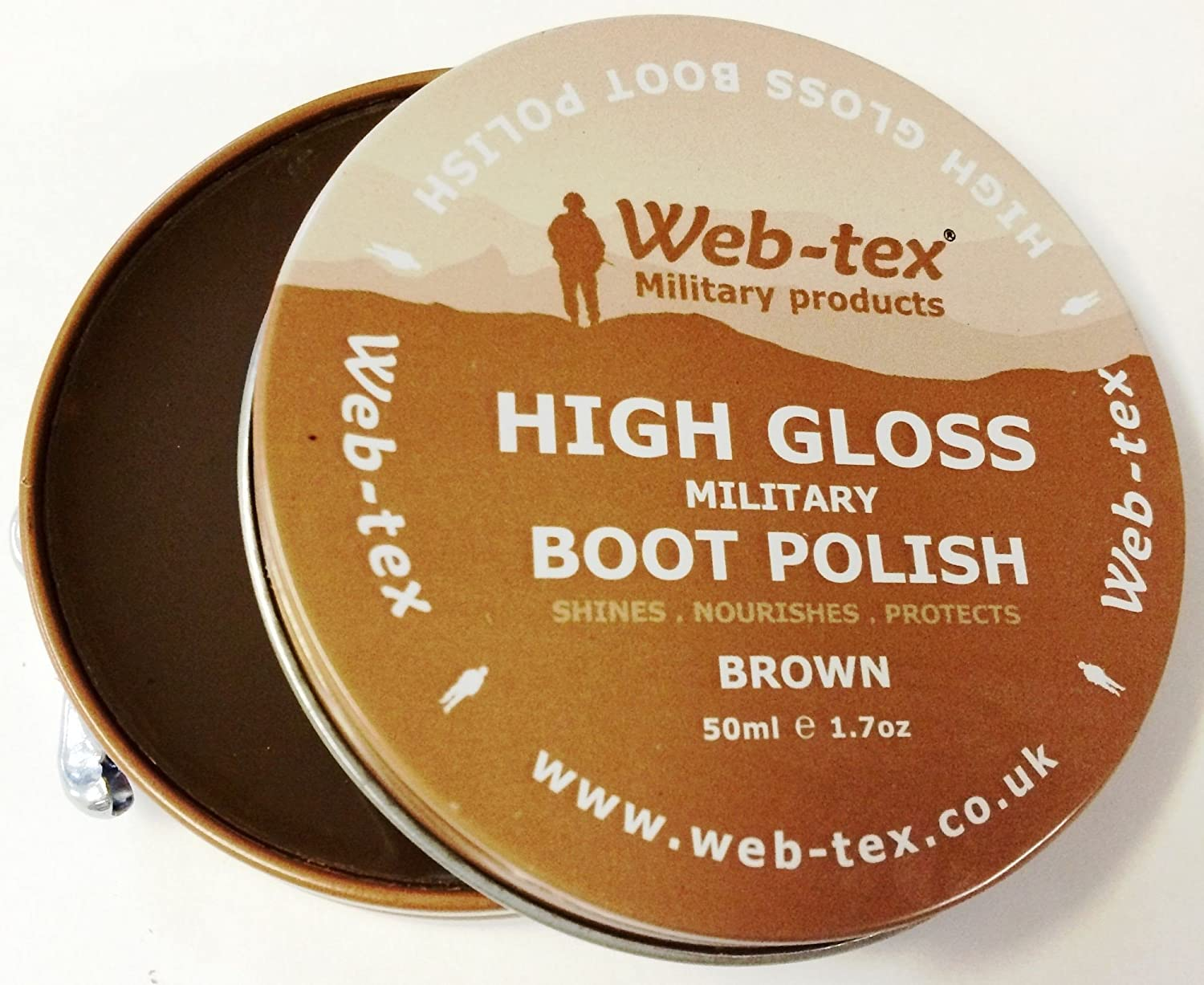 Web Tex Military High Gloss MTP BROWN Parade Boot & Shoe Polish Army Cadet RAF by Web-tex