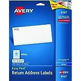 """Avery Easy Peel Return Address Labels for Inkjet Printers 1/2"""" x 1-3/4"""", Pack of 2,000 (8167)"""
